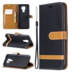 Assorted Color Jeans Cloth Leather Wallet Case for Huawei Mate 30 Lite / nova 5i Pro – Black