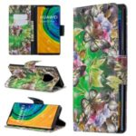 Pattern Printing Light Spot Decor Magnetic Leather Wallet Cover for Huawei Mate 30 Pro – Green Butterfly