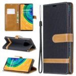 Assorted Color Jeans Cloth Leather Wallet Case for Huawei Mate 30 Pro – Black