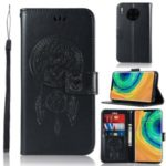 Imprinted Dream Catcher Owl Leather Wallet Cell Casing for Huawei Mate 30 Pro – Black