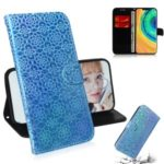 Pure Color Shiny Leather Wallet Stand Shell Case for Huawei Mate 30 Pro – Blue