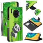 Pattern Printing Cross Texture Leather Wallet Stand Case for Huawei Mate 30 – Panda