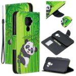 Cross Texture Patterned Wallet Leather Smart Case for Huawei Mate 30 Lite/Nova 5i Pro – Panda