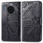 HAT PRINCE Imprint Butterfly Flower PU Leather + TPU Shell Wallet Cover for Huawei Mate 30 – Black