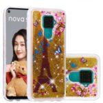 Dynamic Glittery Sequins TPU Shell Case for Huawei Mate 30 Lite/nova 5i Pro – Gold/Eiffel Towel