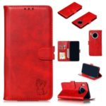 Imprinted Cat Style Surface Leather Wallet Shell Case for Huawei Mate 30 – Red