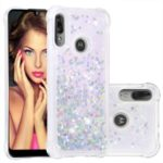 Dynamic Glitter Powder Heart Shaped Sequins TPU Shockproof Case for Motorola Moto E6 Plus/E6s – Silver/Heart