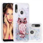 Pattern Printing Quicksand Dynamic Glittery Sequins TPU Shell for Motorola Moto E6 Plus/E6s – Silver/Owl