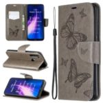Imprint Butterfly Stand Leather Wallet Case for Xiaomi Redmi Note 8 – Grey