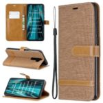 Assorted Color Jeans Cloth Leather Wallet Case for Xiaomi Redmi Note 8 Pro – Khaki