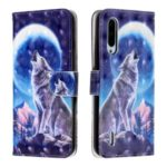 Light Spot Decor Pattern Printing Wallet Flip Leather Case with Strap for Xiaomi Mi CC9e/Mi A3 – Moon and Wolf