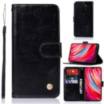 Retro Style Leather Wallet Cell Shell for Xiaomi Redmi Note 8 Pro – Black