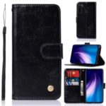 Retro Style Leather Wallet Cell Cover for Xiaomi Redmi Note 8 – Black