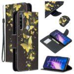 Light Spot Decor Patterned Wallet Leather Smart Case for Xiaomi Redmi Note 8 – Gold Butterflies