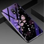 Electroplating TPU Frame+Blue-ray Tempered Glass+PC Back Plate Combo Case for Xiaomi Redmi 8A – Flower