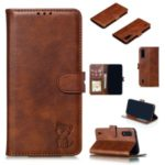 Imprinted Cat Pattern Leather Wallet Stand Case for Xiaomi Mi CC9 / Mi CC9 Meitu Edition – Coffee