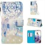 Pattern Printing PU Leather Wallet Case with Strap for Xiaomi Redmi Note 8 – Grey Dream Catcher
