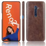 Litchi Texture PU Leather Coated PC Back Case for OPPO Reno 2 – Brown