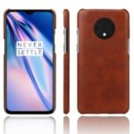 KSQ Crazy Horse Skin PU Leather Coated PC Cover Case for OnePlus 7T – Brown