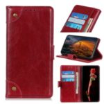 Nappa Texture Brass Buckle Leather Wallet Stand Phone Cover for OnePlus 7T – Red