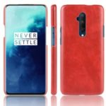 Litchi Skin Leather Coated Hard PC Case for OnePlus 7T Pro – Red