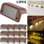 12PCS/Pack Solar Deck Lights Waterproof LED Solar Lamp for Outdoor Pathway Yard