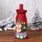 Champagne Wine Bottle Cover Bags Snowman/Santa Claus Christmas Decoration – Red