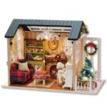 DIY 3D Wooden House Christmas Miniature Dollhouse Kit Realistic Mini Room Craft with Furniture LED Lights