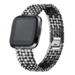 SDXHJ016 Watch Bracelet Strap Classic Link Bracelet Wristband for Fitbit Versa – Black
