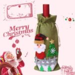 Christmas Champagne Wine Bottle Cover Gift Candy Bag – Green