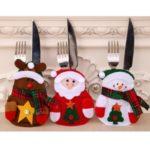 3Pcs Non-woven Fabric Christmas Santa Dinner Bag Set Kitchen Tableware Holder Pocket Suit