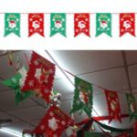2M Non-woven Fabrics Snowman Ornaments Colorful Christmas Hanging Flag Party Decoration