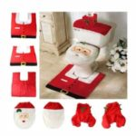 3Pcs/Set Smiley Santa Claus Bathroom Set [Toilet Seat Cover + Rug + Tank Cover] Christmas Decoration