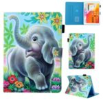 Patterned Leather Stand Card Holder Tablet Case for iPad 9.7-inch (2018)/(2017)/Air 2/Air (2013) – Elephant