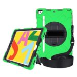 [Built-in Hand Strap] Rotating Kickstand PC + Thicken Silicone Tablet Combo Case with Shoulder Strap for iPad 10.2 (2019) – Green Outer Layer/Black