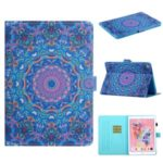 Patterned Leather Card Holder Stand Tablet Protective Casing for iPad 10.2 (2019) – Purple Kaleidoscope