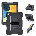 [Built-in Hand Strap] Rotating Kickstand PC + Thicken Silicone Tablet Hybrid Case with Shoulder Strap for iPad 9.7-inch (2018)/(2017)/iPad Pro (2016)/iPad Air 2 – All Black