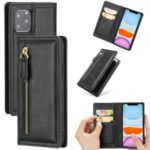 Auto-absorbed Wallet Leather Phone Cover Case [Support Wireless Charging] for iPhone 11 Pro Max 6.5-inch – Black