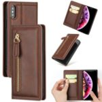 Zipper Pocket Auto-absorbed Leather Stand Case with Card Slots for iPhone XS Max 6.5 inch – Coffee