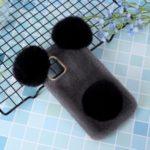 Panda Shaped Soft Fur Coated TPU Cell Phone Case for iPhone 11 6.1 inch – Dark Grey/Black