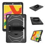 [Built-in Hand Strap] Rotating Kickstand PC + Thicken Silicone Tablet Combo Case with Shoulder Strap for iPad Pro 11-inch (2018) – Black