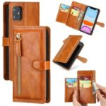 Vintage Style Multiple Card Slots Wallet Leather Phone Cover Case for iPhone 11 6.1-inch – Light Brown