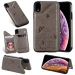 For iPhone XR 6.1 inch Imprint Cat and Bee Kickstand Card Holder PU Leather Coated TPU Case – Grey