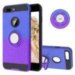 Finger Ring Kickstand Gradient Color Detachable TPU + PC Hybrid Case for iPhone 8 Plus/7 Plus/6s Plus/6 Plus (Built-in Metal Sheet) – Blue / Purple