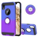 Finger Ring Kickstand Gradient Color Detachable TPU + PC Combo Cover for iPhone XR 6.1 inch (Built-in Metal Sheet) – Blue / Purple