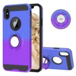 Finger Ring Kickstand Gradient Color Detachable TPU + PC Combo Shell for iPhone XS Max 6.5 inch (Built-in Metal Sheet) – Blue / Purple