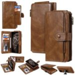 Vintage Style Multifunctional Leather Stand Wallet Phone Case Cover for iPhone 11 Pro Max 6.5-inch – Brown
