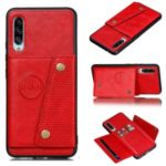 Kickstand Card Holder PU Leather Coated TPU Case [Built-in Vehicle Magnetic Sheet] for Samsung Galaxy A90 5G – Red