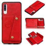 Kickstand Card Holder PU Leather Coated TPU Back Case [Built-in Vehicle Magnetic Sheet] for Samsung Galaxy A70s – Red