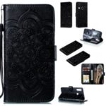 Imprint Mandala Flower Magnetic Leather Wallet Case for Samsung Galaxy A20s – Black